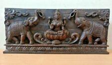 Hindu Goddes Lekshmi Wooden Vintage Wall Panel Laxmi w Elephant Sculpture Statue