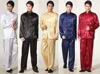 HOT Chinese Men's Silk Kung Fu Suit Pajamas Black White Blue Red  : M- 2XL