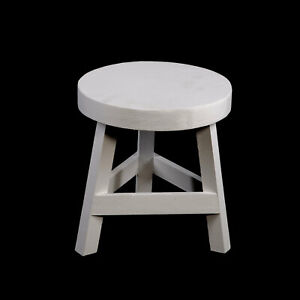 Small White Wooden Shabby Chic Stool Kids 3 Legged Round Side End Foot Seat 23cm