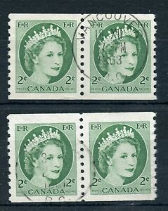 Weeda Canada 345, 345iv VF used coil pairs, 1 F paper, 2c Wilding CV $12+