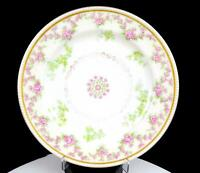 "HAVILAND LIMOGES FRANCE PINK GREEN & GOLD FLORAL BEADED RIM 9.75"" DINNER PLATE"