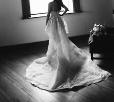 Marchesa Ambrosia Wedding Gown size 0 with veil and peplum train, $10,000