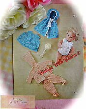 Vintage 70s Crochet Pattern for Baby Dolls Outfits. 6 Pieces to Make