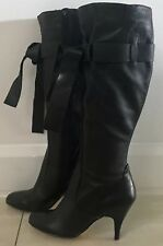 Gorgeous  MOLLINI Black Leather Knee High Tie Front Boots w 9.5cm Heels Size 8