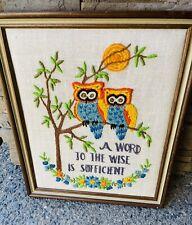 Vintage 70s Framed Crewel Needlepoint Owl