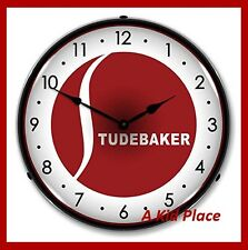 "STUDEBAKER 14"" BACKLIT LIGHTED WALL CLOCK CAR GARAGE RETRO VINTAGE MAN CAVE NEW"