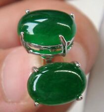 Lady's exquisite green jade bead stud earrings