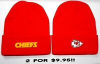 READ LISTING!Kansas City Chiefs HEAT APPLIED Flat Logos on 2 Beanie Knit Cap hat