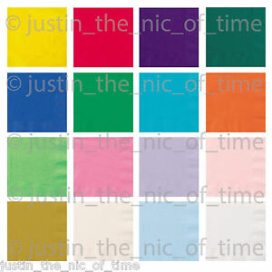 Paper NAPKINS 33cm Party Tableware Plain Solid Colours Events Catering 1 to 100