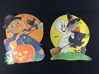 VINTAGE 1950'S-60'S HALLOWEEN DIECUT DECORATIONS GHOST WITCH SCARECROW PUMPKIN