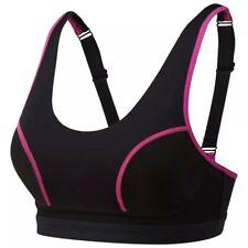 Runderwear Sports Support Bra, black with pink trim, 32E