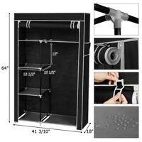 "64"" Portable Wardrobe Closet Storage Organizer Clothes Hanging Rack With Shelves"