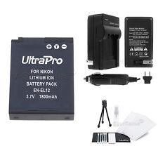 EN-EL12 Battery + Charger + BONUS for Nikon Coolpix S1000pj S1100pj S1200pj S610