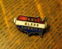 God Bless America 1950's Lapel Pin - Vintage Red White Blue Gold USA Map Badge