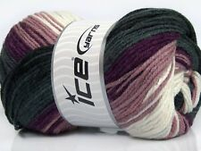 4 PELOTES DE LAINE ICE YARNS FAVORITE MAGIC MAROON ROSE ROSE BLANC GRIS DEGRADES