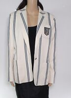 Lauren by Ralph Lauren Women's Jacket Cream Beige Size 10 Striped $275 #070