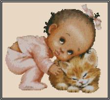 Africana Americano Bebé Niña con Gato Punto de Cruz Kit Completo No.50-117