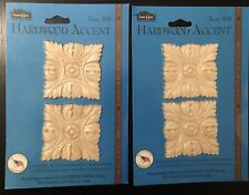 House of Fara Hardwood Appliques 2 packs/ 4 accents total - #308 SQUARE ROSETTE