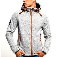 SUPERDRY Mens 'STORM' Grey Marl Fleece KNIT Hooded JACKET Size XL #5113