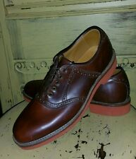 WALK OVER GEORGE E KEITH BROWN LEATHER SADDLE SHOES RED SOLE 7.5 D OXFORDS