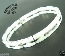 LADY Pearl White Genuine Ceramic Silver Russian Diamonds Tungsten Women bracelet