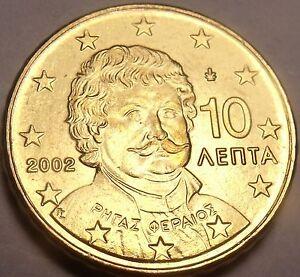 Gem UNC Grèce 2002 10 Euro Centimes ~ Rhgas Feriaou ~ Fantastique