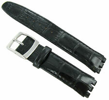 20mm Genuine Leather Alligator Grain Padded Black Watch Band Fits Swatch