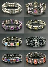 Bulk Wholesale Lot 24 Magnetic Bracelets Hematite Healing Beads Stretch Therapy