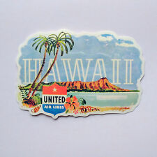 "#2272 Vintage United Airlines Hawaii HI USA 4""x2.5"" Luggage Label Sticker decal"