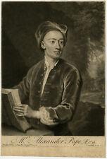 Antique Master Print-PORTRAIT-ALEXANDER POPE-POET -Kneller-Smith-1717