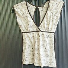 Jane Norman top cream with brown cotton floral designs size 10