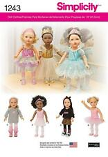 "SIMPLICITY SEWING PATTERN Ballerina and Dance Clothes for 18"" Doll 1243"