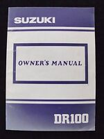 GENUINE 1989 1990 SUZUKI 100 DR100 MOTORCYCLE OWNER'S MANUAL VERY CLEAN