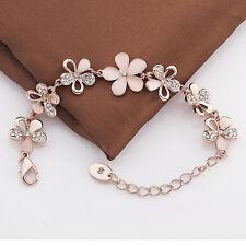 Women Romantic 18K Rose Gold Plated Chain Rhinestone Opal Flower Bracelet Bangle
