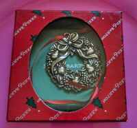 Reed and Barton Harvest Wreath Ornament with red ribbon in original box.