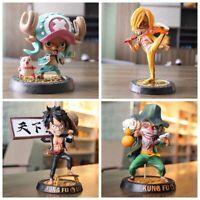 One Piece Luffy Sanji Chopper Usopp Kung Fu Version Pvc Action Figure Model Toys