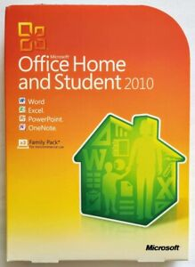 Genuine Retail Box Microsoft Office 2010 Home & Student Family Pack for 3 PCs