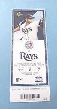 Tampa Bay Rays vs Toronto Blue Jays  2012 MLB Ticket w/Stub Friday 9/21/2012