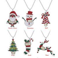 Christmas Tree Snowman Santa Claus Women Pendant Necklace Sweater Chain Jewelry