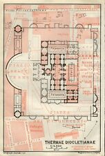 1909 ANTIQUE PLAN -ITALY- ROME-THERMAE DIOCLETIANAE