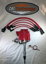 Jeep AMC GM HEI Distributor RED & Plug wires CJ5 CJ7 YJ 258-232 - DROP IN READY
