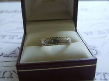 Vintage Sterling silver and 9ct gold eternity style ring clear stones