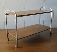 FORMWOOD VINTAGE RETRO MID CENTURY TEAK AND CHROME TWO TIER TROLLEY ON CASTORS