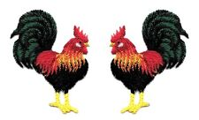 Rooster - Farm - Chicken - Embroidered Iron On Applique Patch - Set Of 2