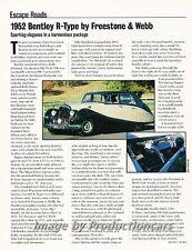 1952 Bentley R-Type Freestone and Webb Original Car Review Print Article J673