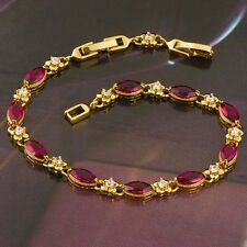 "Womens Girls 18K Yellow Gold Plated Red Ruby Crystal Bracelet Chain 8"" European"