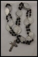 """† ANTIQUE & UNUSUAL """" STATIONS OF THE CROSS """" BLACK BEADS JESUIT ROSARY FRANCE †"""