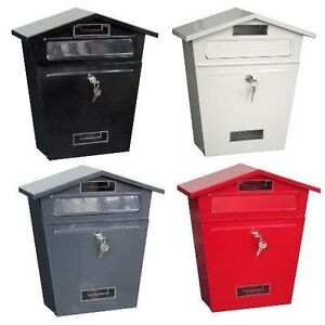 STEEL POST BOX LARGE MAILBOX LOCKABLE LETTER MAIL WALL MOUNTED OUTSIDE & 2 KEYS