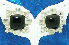 ONYX SOLITAIRE AND BEADED ACCENTS EARRINGS SOLID .925 STERLING SILVER 17.2 g