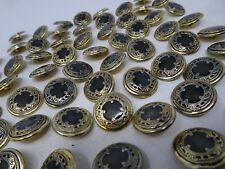 Vintage Ornate Gold Black Shank Buttons with Character 19mm Lot of 4  A405